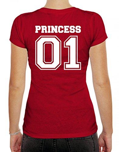 Valentinstag Hochzeit Paar Partner Valentine Damen T-Shirt mit Princess 01 hinten Motiv Rot