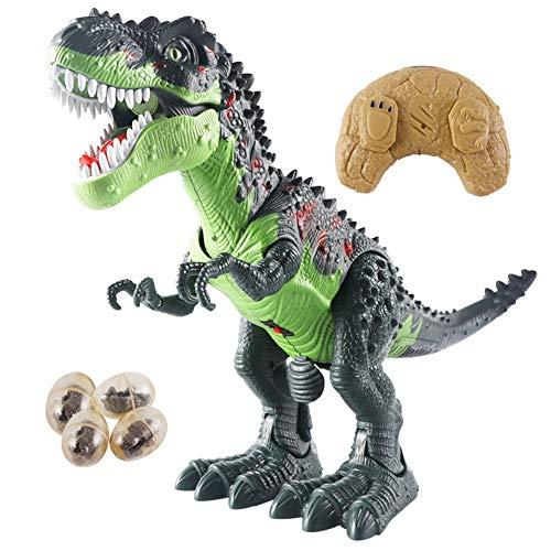LED-Leuchte Fernbedienung Dinosaurier Laufen und Brüllen Realistisches T-Rex Dinosaurierspielzeug mit leuchtenden Augen, Laufen, Sprühen, Blinken, Kopfschütteln und Eier legen für Kleinkinder