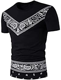 HARRYSTORE Ethnic Style Print T-Shirt Oberteil Herren Sommer Casual African Print O Hals Pullover Kurzarm T-Shirt Top Bluse