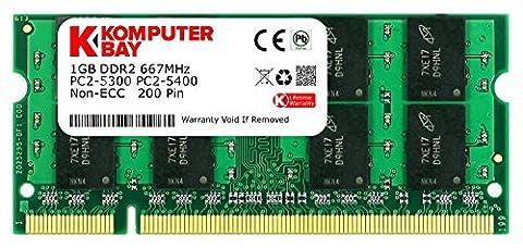 Komputerbay 1 Go DDR2 667 MHz PC2-5300 PC2-5400 DDR2 667 (200 PIN) Mémoire SODIMM pour ordinateur