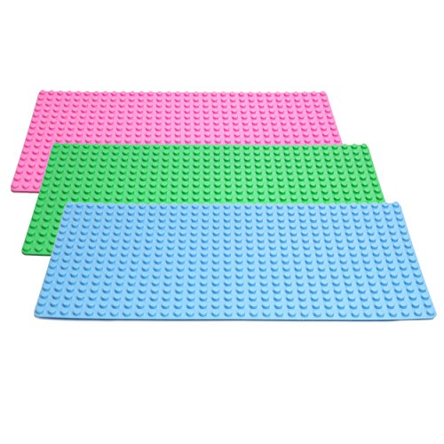 Katara 1739 - 3 Große Grundplatten Bauplatten/100% Kompartibel 51 cm x 26 cm x 2cm, Rechteckig - Rosa, Grün, Blau