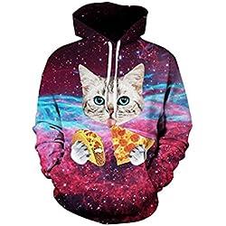 OYABEAUTYE Hombre Unisex Sudaderas con capucha Impreso Arte Suéter Cuello Redondo de Mangas Largas con varios estilos (XXL/XXXL, Pizza de gato)