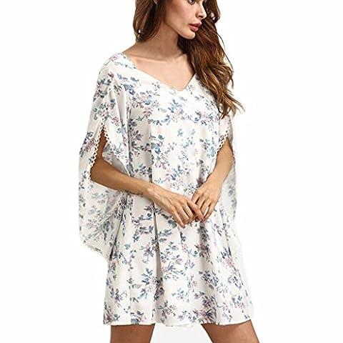 Women Dress, Familizo Ladies Bohemian Floral Printing Dress Beach Chiffon Dress (M, White)
