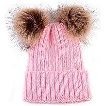 I LOVE DIY Bonnet Pompon Bebe Garcon Fille Chapeaux Tricoté Enfant Hiver  Mignons avec 2 Pompon Fourrure c048839ecd4