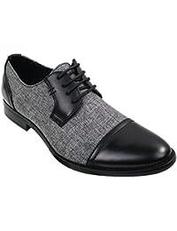 Galax Chaussures homme style décontracté à lacets tweed tissu et simili cuir  ... 088b185474a9
