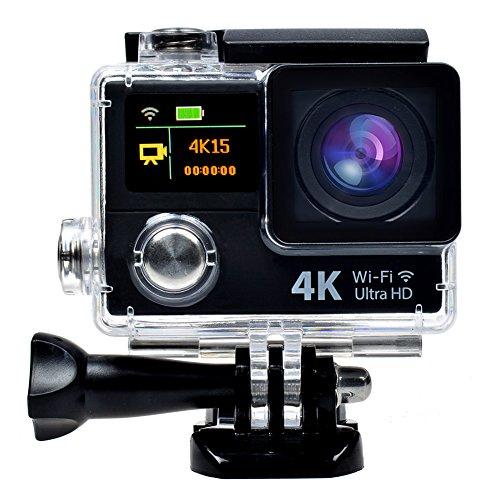 Snail Shop Ultradünnes 4k Wifi wasserdichte Sport-Action-Kamera 18 Zubehör-Set Dual-Screen, Zeitraffer, brach Foto, unabhängige Apps für iOS und Android, 2 Stück Batterien im Lieferumfang enthalten (Schwarz)