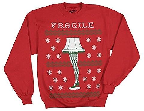 A Christmas Story Leg Lamp Fragile Red Fleece Sweatshirt (Adult XXXL)