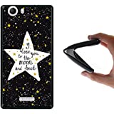 Funda Wiko Ridge 4G, WoowCase [ Wiko Ridge 4G ] Funda Silicona Gel Flexible Estrellas Frase - I Love You To The Moon And Back, Carcasa Case TPU Silicona - Negra