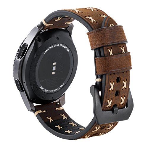 Pour Gear S3 Bracelet, iBazal Gear S3 Frontier / Classic Bracelet de Montre 22mm Vintage Véritable Bracelet en Cuir pour Samsung Gear S3 Frontier / Classic SM-R760 [Style Chic] - Chic Café