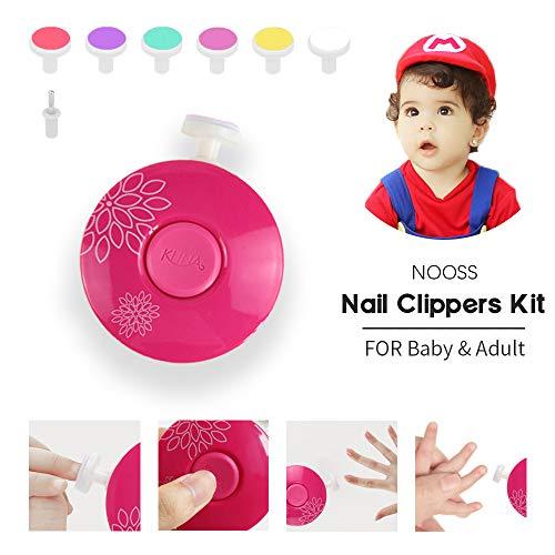 Nooss tagliaunghie elettrico bambini set,neonato cura delle unghie, 6 in 1 lima unghie per bambini neonati e adulti … (red)