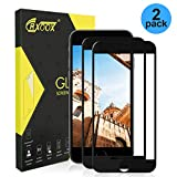 CRXOOX [2 Unidades Cristal Templado Protector de Pantalla para iPhone 7 Plus/ 8 Plus, Alta Sensibilidad, Sin Burbujas,9H Dureza Cristal Vidrio Templado (Negro)
