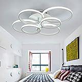 Plafoniera moderna camera da letto della lampada salotto luce di soffitto del LED bianco di anelli tondi acrilico lampadari hall sala cucina ufficio corridoio luce bianca fredda per bambini,L70cm~90w