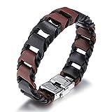 Fate Love Herren Echt Leder Armband mit Schwarz und Braun Armband, Edelstahl Schließe, 20,5cm