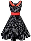 Dresstells 1950er Vintage Retro Rockabilly Cocktail Petticoat Kleider Black Small White Dot S