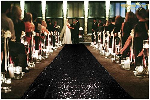 Pailletten Aisle Runner für die Braut 125x1200cm Schwarz Teppich Läufer Bodenschiene für Party Glitter Gang Läufer für Partei,4FTx40FT ()