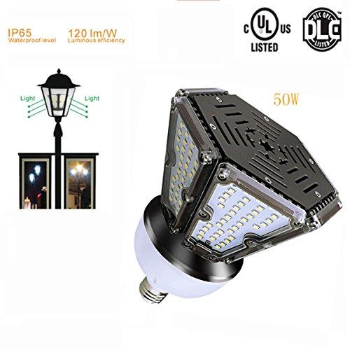 RDJM Garten-Licht-LED-Mais-Birne 50W (150 Watt-Ersatz), LED-Straßenlaterne/Garten-Lampe/Parkplatz, E27 Große Mogul-Schrauben-Basis, 2700-7500K Bereichs-Licht, 360 ° Flut-Licht, DLC-Qualifiziert -