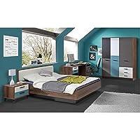Preisvergleich für Jugendzimmer Raven Komplett verschiedene Ausführungen Kinderzimmer Möbel (Zimmer Raven 4tlg 140er Bett, Drehtürenschrank)