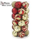 Valery Madelyn 30tlg.6cm Luxuriös Rot Gold Bruchsicher Weihnachtskugeln Dekorationen ,inkl. 30 Metallhaken, Themen mit Baumrock (nicht inkl.)