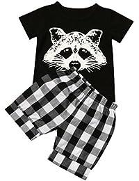 Fossen Verano Ropa Bebe Niño Fox T Shirt Tops y Pantalones Cortos de Cuadros