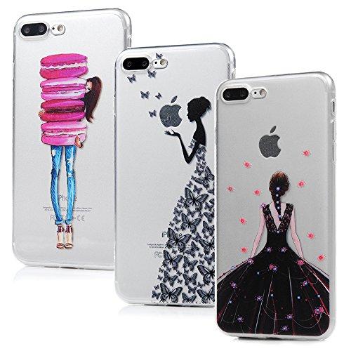Badalink Lot de 3 Coque pour iPhone 7 plus / iPhone 8 plus, Case Housse Étui Bumper Coque TPU Silicone Gel Mat Souple Flexible Ultra Mince Slim Léger Anti Rayure Antichoc Housse Motif Fille Fille