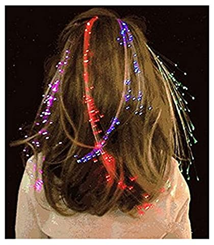 Ultra Pack de 5 Light Up Fibre optique Clip pince à cheveux en Multi couleur LED cheveux Extensions ensembles de fibres cheveux Extensions voyant les extensions cheveux batterie alimenté pour femmes filles optique Fibre parfaite pour Parties faveurs Gift Bags