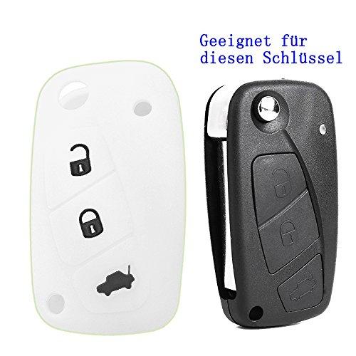 RotSale® 1x Weiß Schlüsselhülle Autoschlüssel Fiat 3 Tasten Etui Silikon Schutzhülle Tasche Gehäuse Fernbedingung Funkschlüssel Klappschlüssel