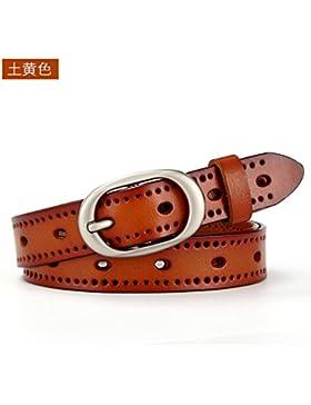 Cinturón de cuero de las señoras cinturón de cuero hueco de ocio retro correa fina con cinturón decorativo Amarillo