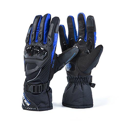 Moto Guanti Inverno Caldo Guanti di protezione 100% impermeabile antivento Guantes luvas (blu, M)