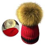 Cappello del bambino , Bonice Bambino carino inverno neonato cappelli in lana maglia orlo cappello Cappello Bambina Inverno Tenere al caldo Lana a Maglia Cappellini ,Lana di maglia - Rosso