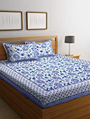 Boutique Bedding Queen Size 100 Cotton 250TC Bedsheet with 2 Pillow Covers (White and Blue , 235x225 cm)