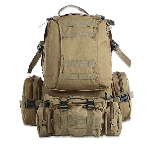 Zaini WEN FENG Outlife 50l Zaino All'aperto Molle Military Tactical Backpack Rucksack Sports Bag Impermeabile Camping Hiking Backpack Per Viaggi 51x31x16 cm cachi inv
