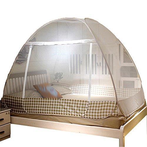 Filet Anti-Moustique Mosquito Net Bed Moustiquaire Mousseline À Moustiquaire Textile À La Maison Zipper Bottom Pas Besoin D'installer Plier Simple Porte en Acier 3 Tailles Tingting