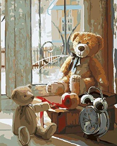 Malen nach Zahlen 40 x 50 cm mit Holzrahmen Komplettset GX8158 Bär Tady Baby
