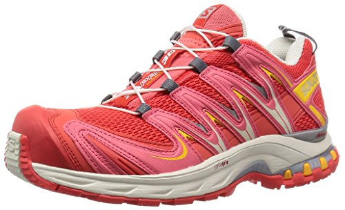 Salomon XA Pro 3D, Scarpe da Trail Running Donna, Rosso (Rojo (Infrared / Light Grey-/ Yellow Gold)), 38 2/3 EU
