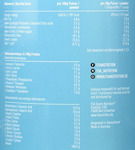 Whey Protein Eiweißpulver der deutschen Profisport Marke FSA Nutrition | Low Carb Proteinpulver mit BCAA | Hergestellt in Deutschland | 900g | Banane