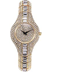 Sheli Women's Fashionable Silver Tone Iced Out Slim Bangle Watch for Wedding Gift, 14mm
