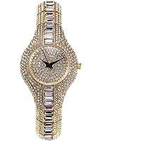 Sheli Orologio Bracciale da donna alla moda argento ICED OUT sottile per regalo di nozze, 14mm - Gold Diamond Bezel Orologio