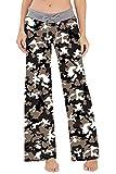 Fanient Frauen Schlafanzughosen Mädchen Camouflage Grafik Yoga Palazzo Kordelzug Beiläufige Lose Breite Beinhosen Hosen Leggings