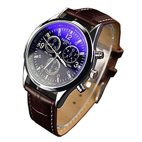 Chianrliu Orologio con cinturino in ecopelle, blue Ray, con vetro, al quarzo Analog orologi marrone da uomo