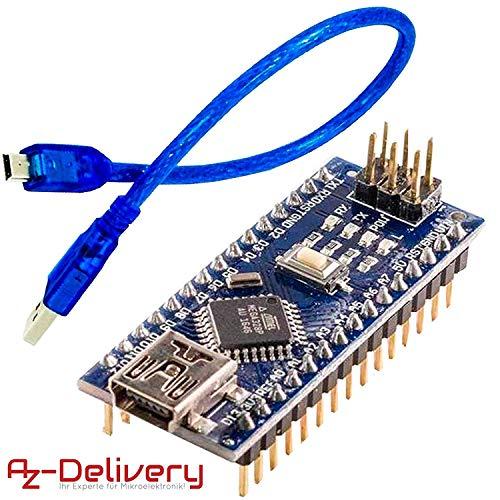 AZDelivery Nano V3.0 CH340 Chip Soldado Versión mejorada con cable USB 100{a2478d5be83df26709e05c1c70d1d8a3bd31f554f8fa8f39220c2190d437a256} compatible con Arduino Nano V3 con eBook incluido