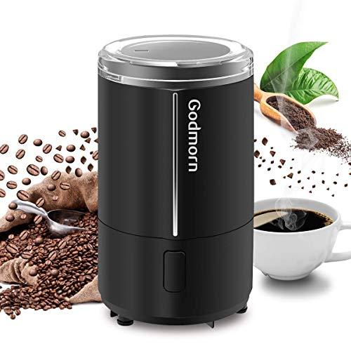 Kaffeemühle, Godmorn Elektrische Kaffeemühle mit Edelstahl Schlagmesser, Espressomühle für 50 g Kaffeebohnen, Nuß und Gewürz, Sicherheitsschalter, Sicherheitsschloss, 150W