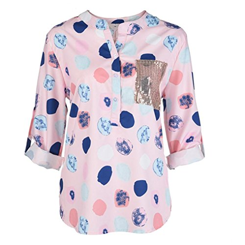 MOIKA Damen Bluse, Frauen V-Ausschnitt mit Langen Ärmeln Wave Point Printing Plus Size Tops Lose Bluse Langarm Oberteile Langarmshirt Tshirt Longbluse(EU46/3XL,Rosa)