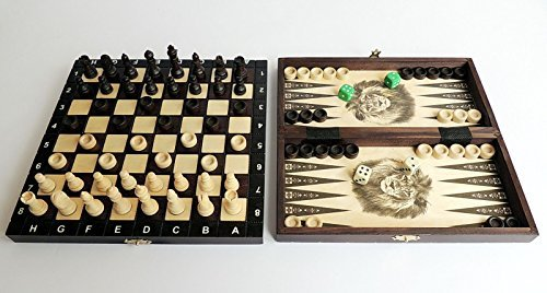 3 in 1 Wooden Board Backgammon Game Set Compendium Travel Chess Draughts 40x40cm
