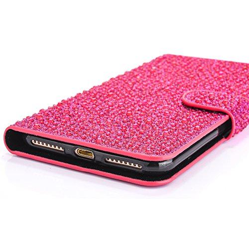 "iPhone 7Plus Handytasche, iPhone 7Plus Glitzer Hülle, CLTPY Shiny Rhinestone PU Ledermappe Fall mit Kartenhalter & Magnetverschluss, Mehrfarbiges Mädchen 3D Schale Etui für 5.5"" Apple iPhone 7Plus (No Rose Rosa D"