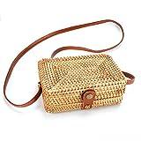 SOOHAO Sommer Strandtasche Handgewebte Rattan Tasche Kleine Handgemachte Handtasche Damen Vintage...