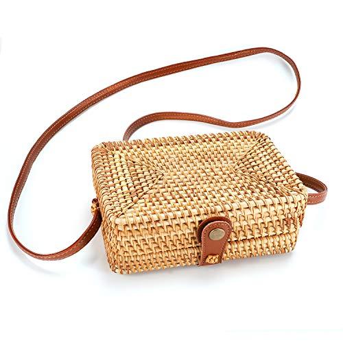 tasche Handgewebte Rattan Tasche Kleine Handgemachte Handtasche Damen Vintage Stroh Crossbody Tasche Böhmischen Stil Umhängetasche Retro Handgestrickte Clutch Bag für Mädchen ()