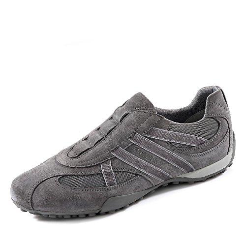 Geox Herrenschuhe U2207V UOMO SNAKE Sportlicher Herren Sneaker, Schlüpfhalbschuh, Slipper, Freizeitschuh, atmungsaktiv mit Gummizug für optimale Passform ANTHRACITE/STONE