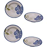 Soup Plate 9 Inch Ceramic/Stoneware In Blue And White Color (Set Of 4) Handmade Pottery By VolCraft