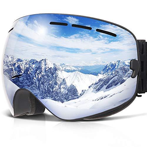 Skibrille ,COPOZZ G1 Ski Snowboard Brille Brillenträger Schneebrille Snowboardbrille Verspiegelt - Für Damen Herren Frauen Jungen - Mit Sehstärke OTG UV-Schutz Anti-Fog Silber