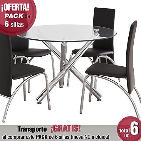 Pack de 6 sillas de comedor Andros, tapizada polipiel y patas cromadas (Negro)